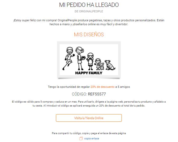 Página con código promocional para descuento en productos personalizados