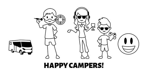 Designa en sticker med glada campare till din husbil eller husvagn