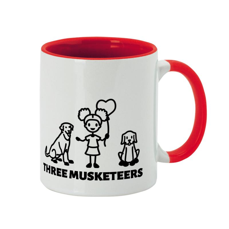 Three friends together in a dog mug