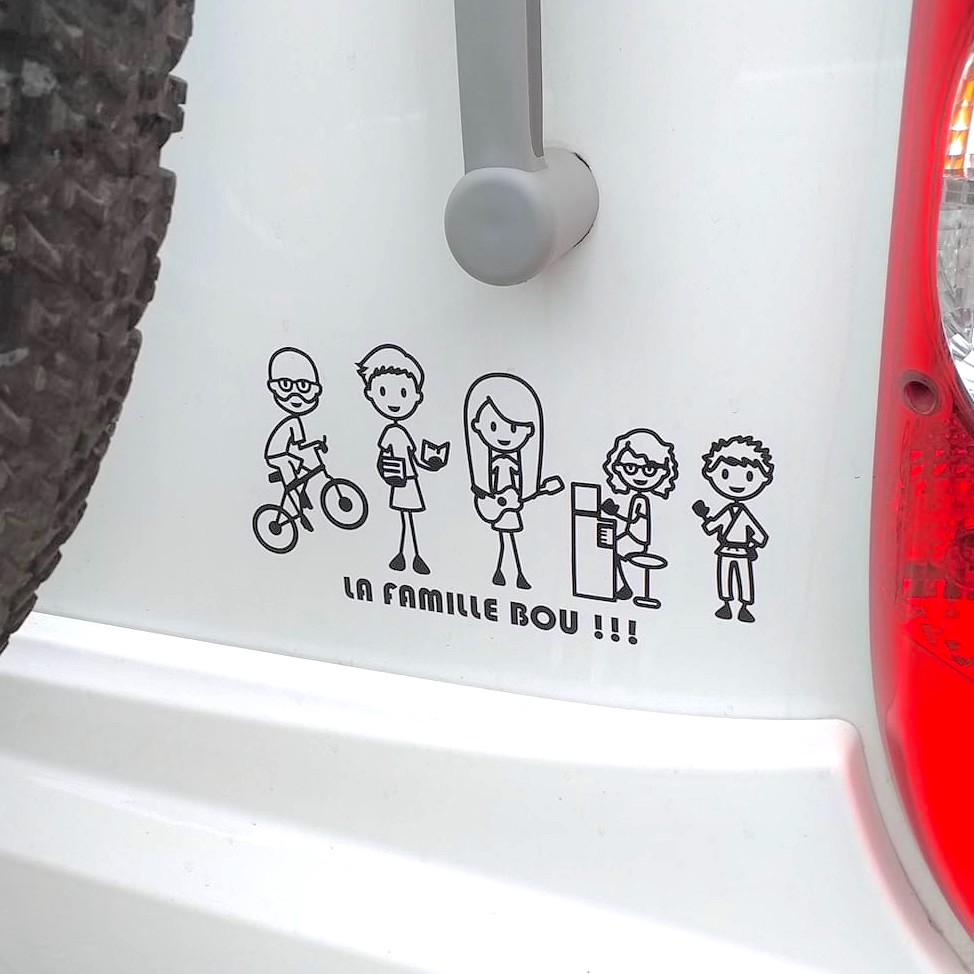 French family on the road with OriginalPeople sticker decals on the RV