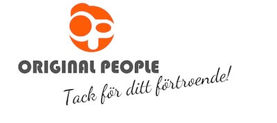 Dekal företaget OriginalPeople's logo med ett tack meddelande till kunder