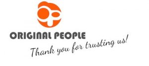 The OriginalPeople sticker company logo with a thank you message