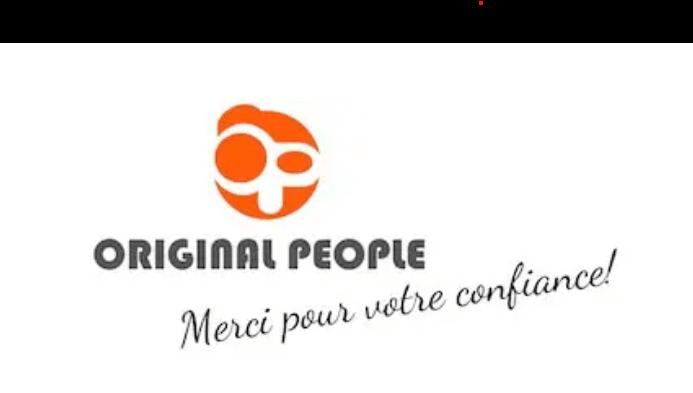 Logo de la société OriginalPeople qui vend des bouteilles personnalisées avec un message de remerciement.
